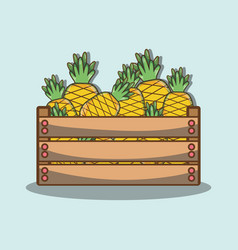 Delicios and fresh pineapple fruit inside basket vector