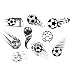 Flying soccer balls vector image vector image