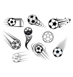 Flying soccer balls vector
