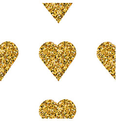 Gold heart seamless pattern on white backgroung vector