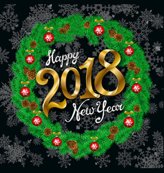 happy new year 2018 gold vintage black snowflakes vector image