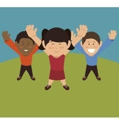 happy people landscape icon vector image