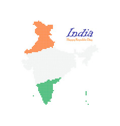 India dotted map independence day map silhouette vector