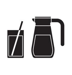 Juice jug and mug outline icon vector