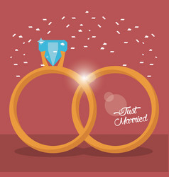 Just married golden rings vector