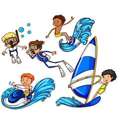 Kids enjoying the different watersports vector
