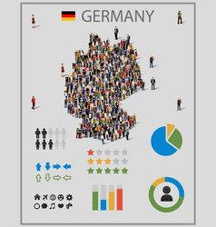 large group of people in germany map with vector image vector image