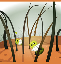 Lice invasion inside hairy landscape vector