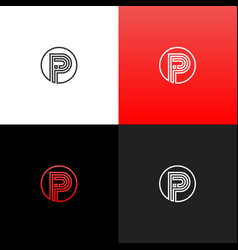 lines logo p in circle linear logo the letter p vector image