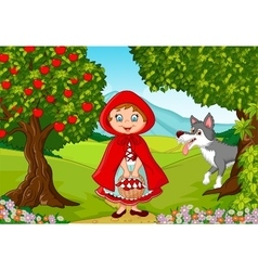 Little red riding hood meeting with a wolf vector