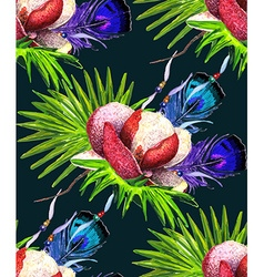 Magnolia and Feathers black pattern vector image vector image