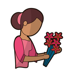 Mother female parent with flowers vector