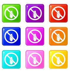 No termite sign icons 9 set vector