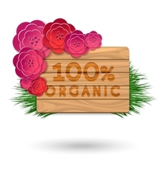 Organic wood banner with red flowers vector