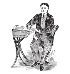 Penmanship posture or correct posture to sit vector