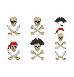 Pirate skull set design templates vector