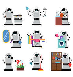 robots assistants helping people in housework vector image