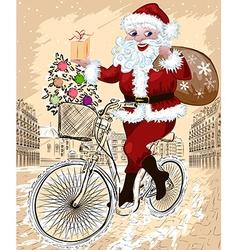 Santa riding a bicyle in a city sketch vector