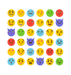 set of emoticons cute emoji icons kawaii flat vector image vector image