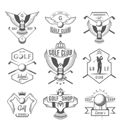 Set of golf logo labels and emblems vector