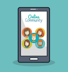 smartphone online community icon face vector image