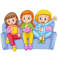 Three girls at slumber party vector