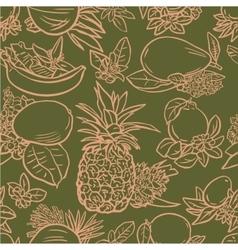 Various tropical fruits vector