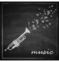 Vintage with trumpet on blackboard background vector