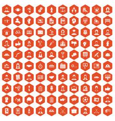 100 team work icons hexagon orange vector image vector image