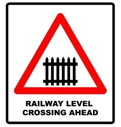 Traffic sign level crossing with barries ahead vector