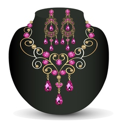 Necklace with pink jewels and earrings vector