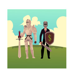 medievel and modern businessman knight in metal vector image