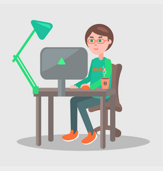 Cartoon man sits at table with laptop vector