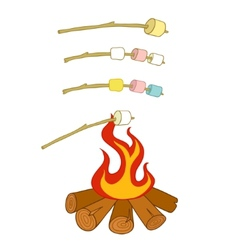 Roasted marshmallows vector