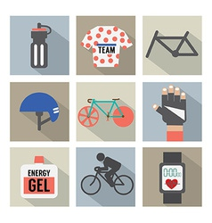Set of flat design bicycle and accessories icons vector