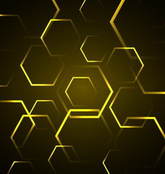 Abstract background with yellow hexagon vector