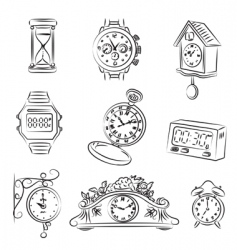watch and clocks vector image