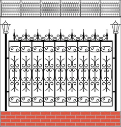 Iron fence with red bricks vector