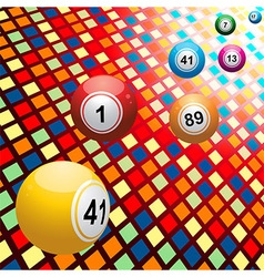 Bingo balls on coloured 3d mosaic background vector