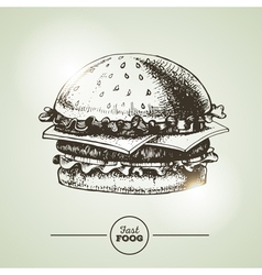 Vintage fast food sandwich sketch vector