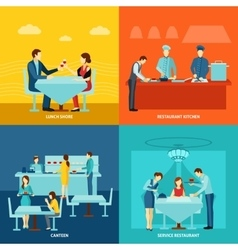 Catering service 4 flat icons square vector