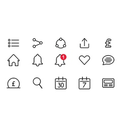 Set of the icons for mobile or web interfaces vector image