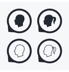 Head icons male and female human symbols vector