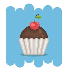 Chocolate muffin icon with cherry vector