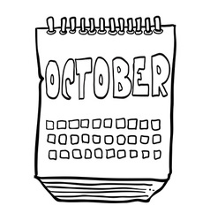 Black and white freehand drawn cartoon calendar vector
