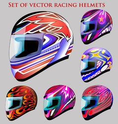 Set of beautiful racing helmets vector
