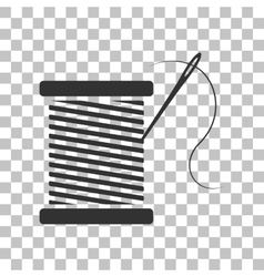 Thread with needle sign  dark gray vector