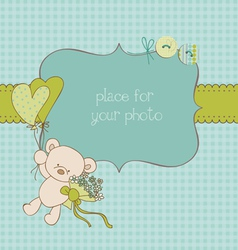 baby greeting card with photo frame and place for vector image