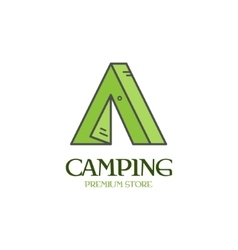 Beautiful minimal camping tent icon logo label vector