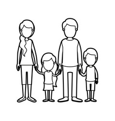 black thick contour caricature faceless family vector image vector image